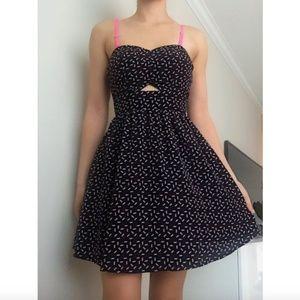 Black Pink Polka Dot Open Back Short Mini Dress